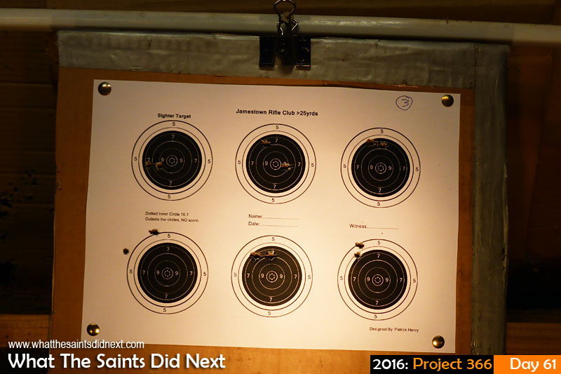 'Steaks' 1 March 2016, 19:15 - 1/200, f/3.3, ISO-100 What The Saints Did Next - 2016 Project 366 Target at the end of a shoot at the Jamestown Rifle Club.