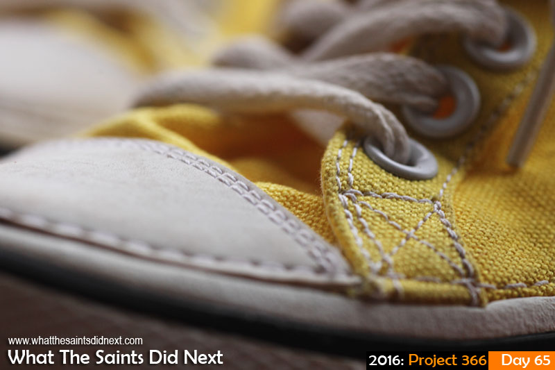 'Recovery position' 5 March 2016, 17:53 - 1/60, f/5, ISO-400 What The Saints Did Next - 2016 Project 366 Yellow shoes with white laces.