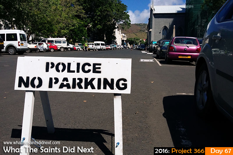 'Moles' 7 March 2016, 14:47 - 1/1917, f/2.4, ISO-50 - Samsung Galaxy A3 What The Saints Did Next - 2016 Project 366 No Parking signs in the Grand Parade, Jamestown, St Helena.