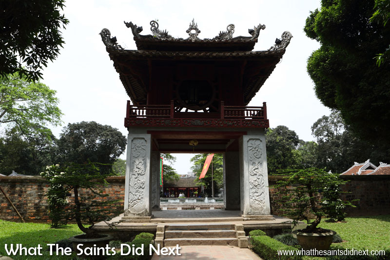 The ornate 'Khue Van Pavillion' leads onto the 'Well of Heavenly Clarity.'  The Quoc Tu Giam, or Temple of Literature, in Hanoi was the biggest educational centre in Vietnam under the feudal regime and trained thousands of scholars.