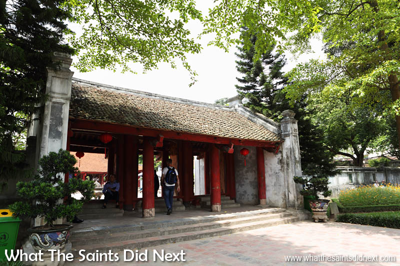 Quoc Tu Giam, Hanoi, Vietnam. Each courtyard in the Temple of Literature has a grand gateway with names to match, this is the Gate of Great Synthesis leading into the Sage Sanctuary.