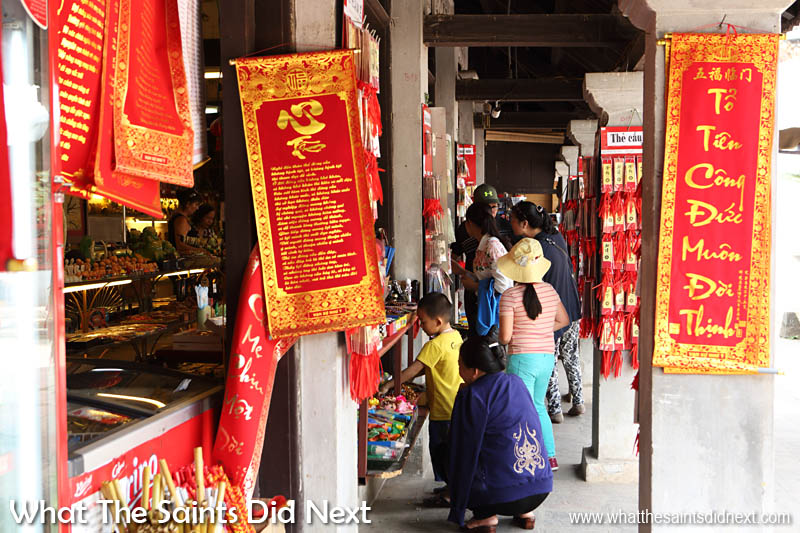 Quoc Tu Giam, Hanoi, Vietnam. Gift shop brimming with bright colourful wares and educational keepsakes.