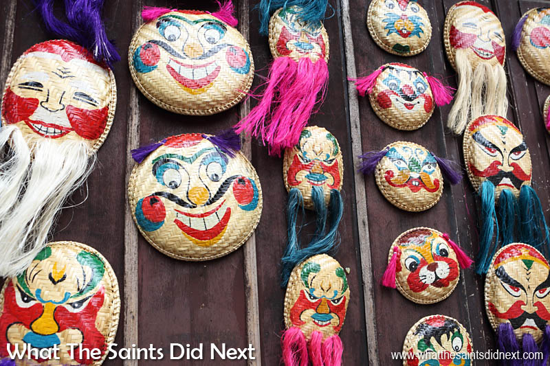 Masks on sale inside the Temple of Literature gift shop - Hanoi, Vietnam.
