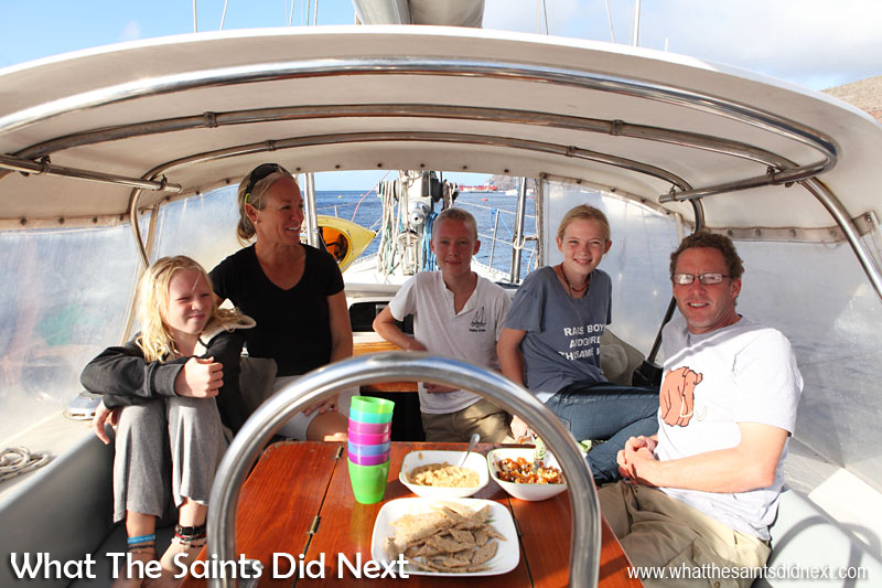 The Gifford family on their cruiser yacht, Totem, moored in James Bay, St Helena. L-R: Siobhan, Behan, Niall, Mairen and Jamie.