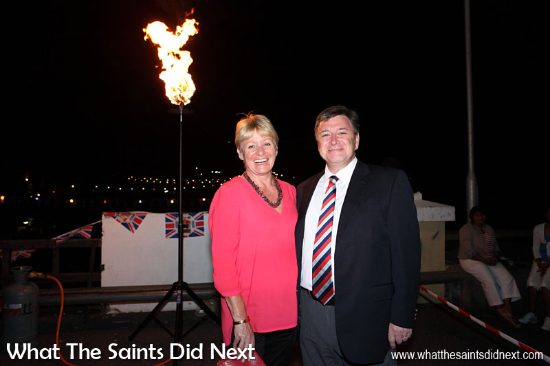 Governor Mark Capes with his wife Tamara in Jamestown, St Helena, soon after lighting one of the official beacons to celebrate the Queens Diamond Jubilee. 4 June 2012.