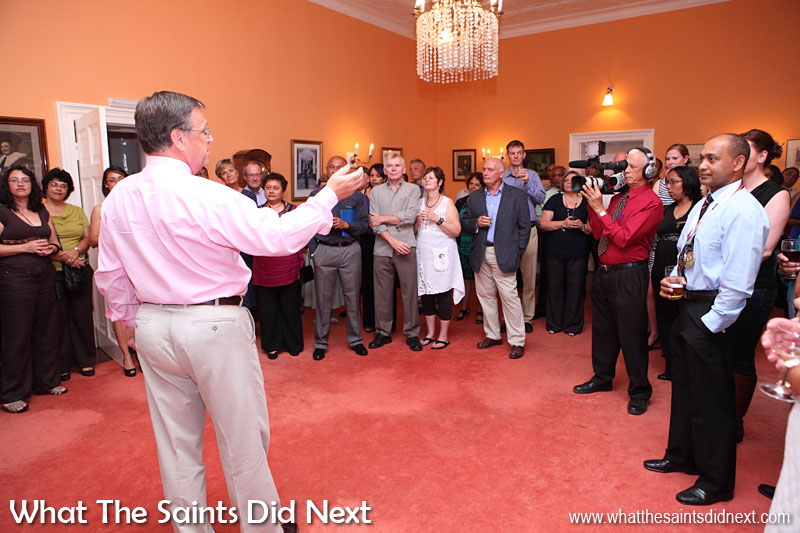 Governor Mark Capes hosting a reception at Plantation House in November 2013 to recognise the St Helena team after their medal winning achievements in the Small Island Games that year in Bermuda.