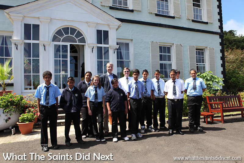 Governor Mark Capes and FCO Director for the Overseas Territories, Dr Peter Hayes, held a discussion session at Plantation House in March, 2013, with a selection of students from Prince Andrew School.