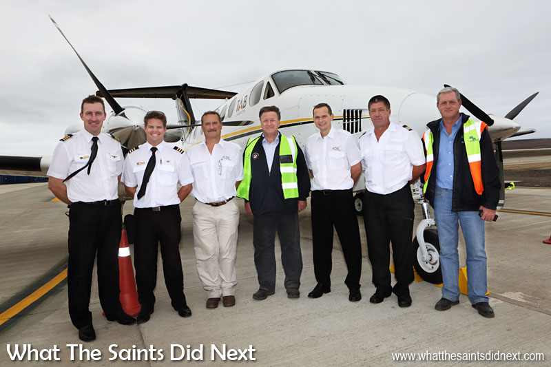 Historic day, 15 September, 2015 when the first airplane landed at St Helena's brand new airport, beginning the era of air travel to the island. Governor Mark Capes (centre) and airport building contractor Basil Read's Island Director, Deon De Jager (right), takes a moment with the flight crew.