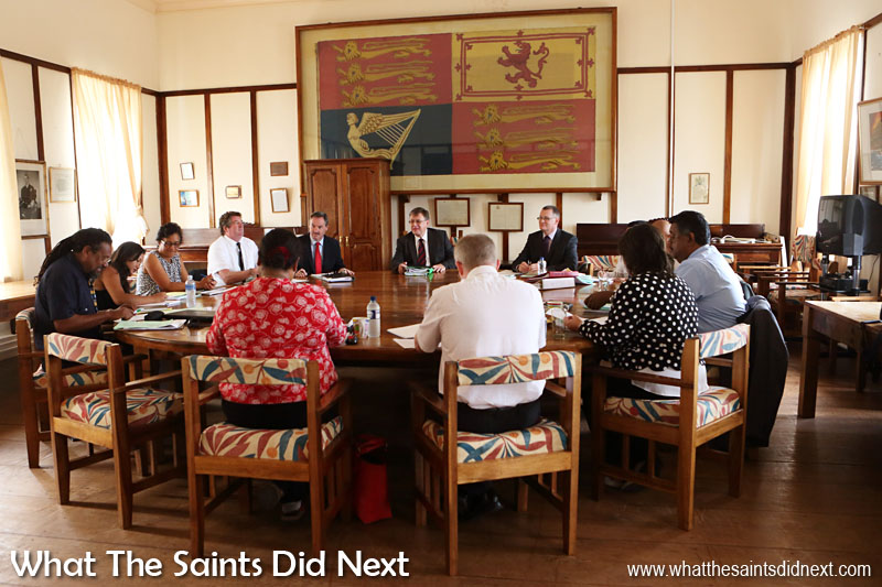 Governor Mark Capes chairing a meeting of St Helena's Executive Council, in the council chambers at the Castle, in Jamestown.