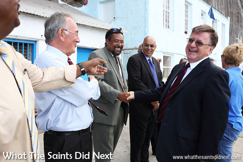 Governor Mark Capes on his final day on St Helena, sharing a humorous moment with councillors who formed the traditional line-up on the wharf to say goodbye. 18 March, 2016.
