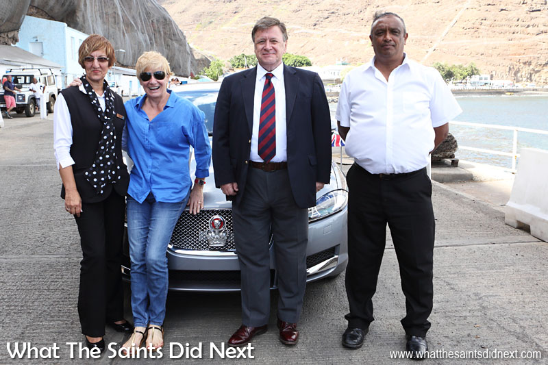 Governor Mark Capes and Tamara on departure day at the seaside, with two of the staff from Plantation, Debbie Stroud (left) and Michael Benjamin (right). 18 March, 2016.