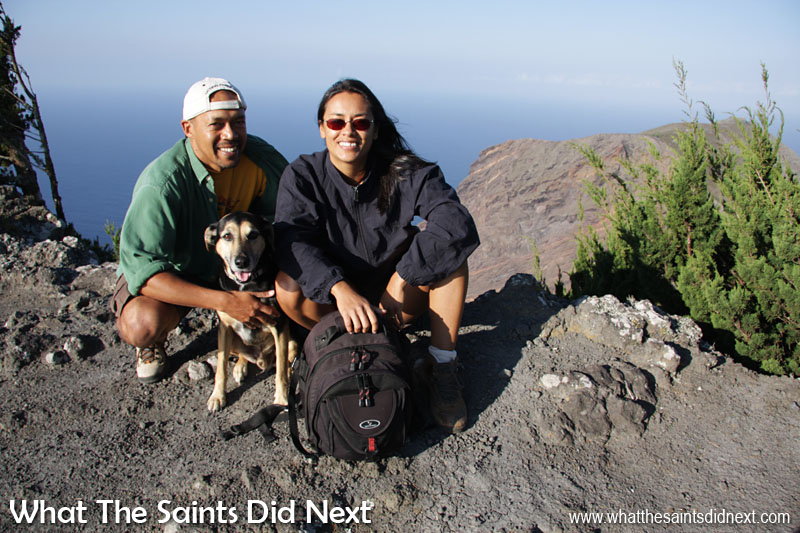 Flagstaff Post Box walk is one of the easiest to do on St Helena and one we've done many times over the years. This is us at the top in 2009 with our 'little man,' Jasper, who used to lead us on every walk we did on St Helena. Sadly, no longer with us, but a very happy memory.