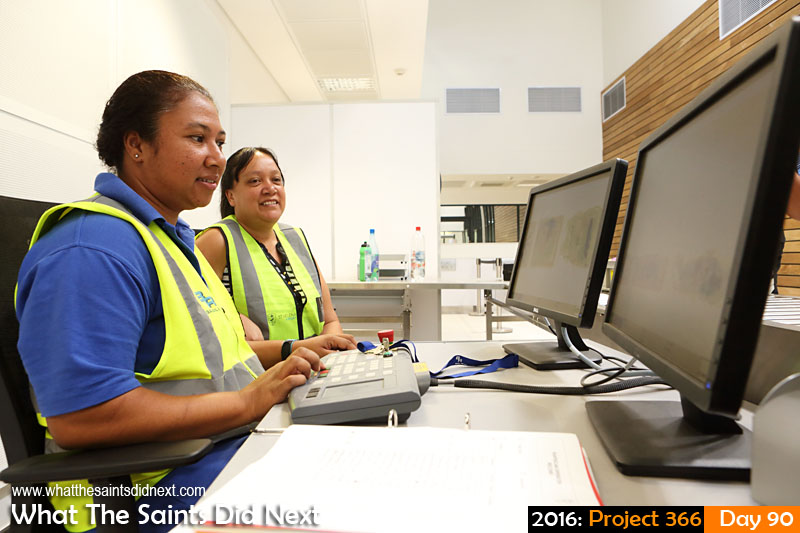 'Valencia' 30 March 2016, 11:08 - 1/60, f/7.1, ISO-800 What The Saints Did Next - 2016 Project 366 Security staff training on baggage scanning machines at the brand new St Helena Airport.