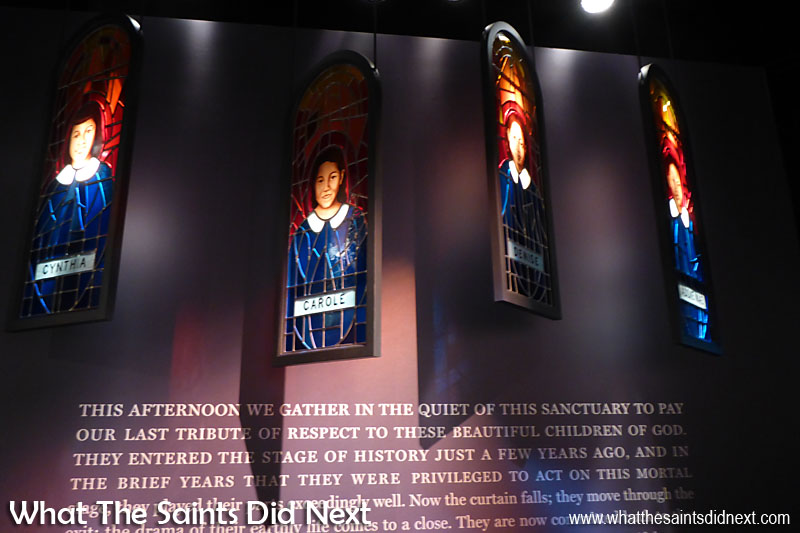 In 1963, following an order to desegregate schools of Birmingham, Alabama, a Baptist church was bombed. Four little girls was killed. Despite the fact that the FBI had information on the bombers, no one was convicted until 1977, with the last two bombers convicted in 2001 and 2002 Exhibit inside the Center for Civil and Human Rights, Atlanta, Georgia.
