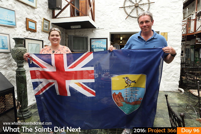 'Glasgow 2014' 5 April 2016, 14:26 - 1/100, f/7.1, ISO-200 What The Saints Did Next - 2016 Project 366 Gordon and Emma Woodward-Clark presenting the official St Helena flag used in the Glasgow 2014 Commonwealth Games Opening Ceremony.