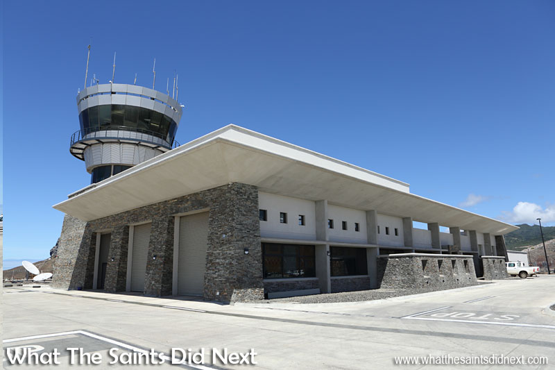 The brand new St Helena Airport Combined Building and control tower. The stone work on the exterior has come from all over the island.