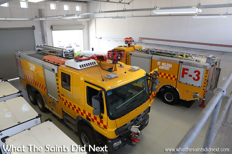 Fire trucks inside the Combined Building. Inside the new St Helena Airport.