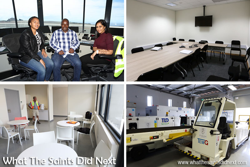 Inside the St Helena Airport control tower with air traffic controllers, Nolwazi Mkhungo, Velly Masinga (SATCO) and Bhavna Matabadal. Training Room in the Combined Building (top right), pilots tea room (bottom left) and aircraft service vehicles.