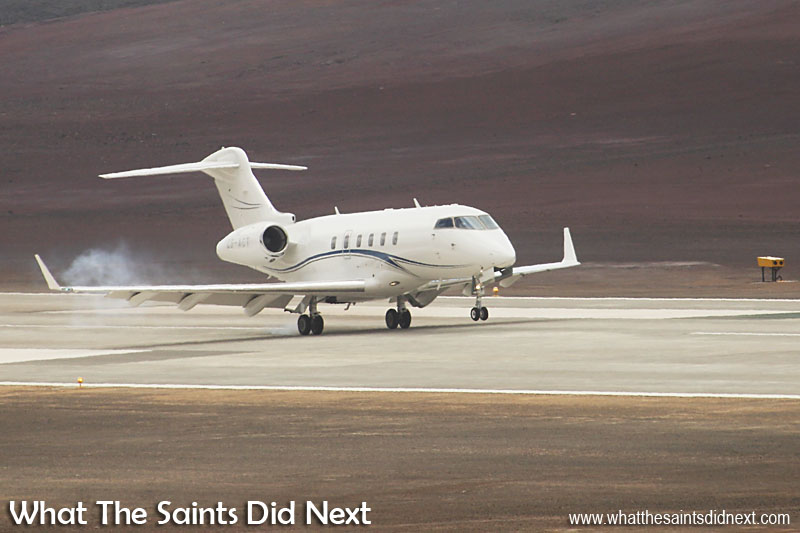 First jet plane to land on St Helena touches down at precisely 11:27 on Sunday 10 April, 2016. The Bombardier Challenger 300 business jet had flown from Johannesburg in South Africa, stopping to take on fuel in Walvis Bay, Namibia before making the final 2.5 hour hop to St Helena.