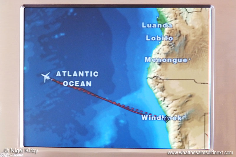 Passenger cabin flight display information onboard the Bombardier Challenger 300 as it approached St Helena.