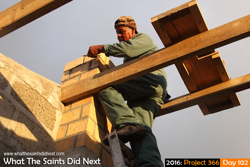 'Twenty' 11 April 2016, 17:57 - 1/160, f/6.3, ISO-400 What The Saints Did Next - 2016 Project 366 St Helenian builder working on a housing project.