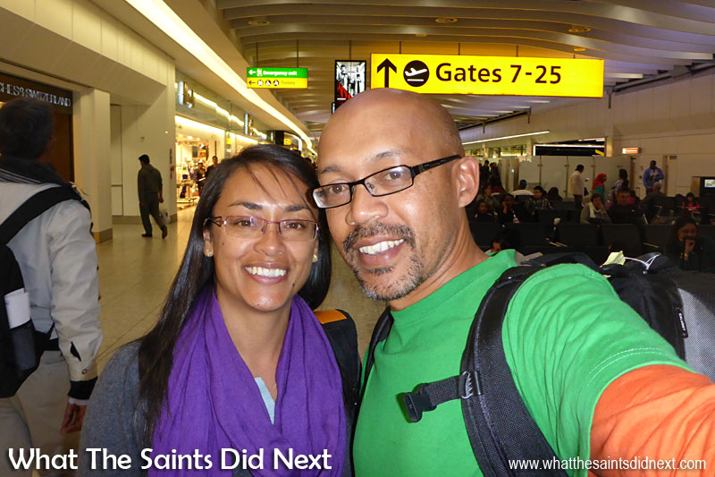 Most people from St Helena are likely to be interested in flights to London, UK. There are quite a few options with different airlines for return fares from Johannesburg to London Heathrow. Here we are just before boarding a flight at Heathrow heading to Southeast Asia in 2015.
