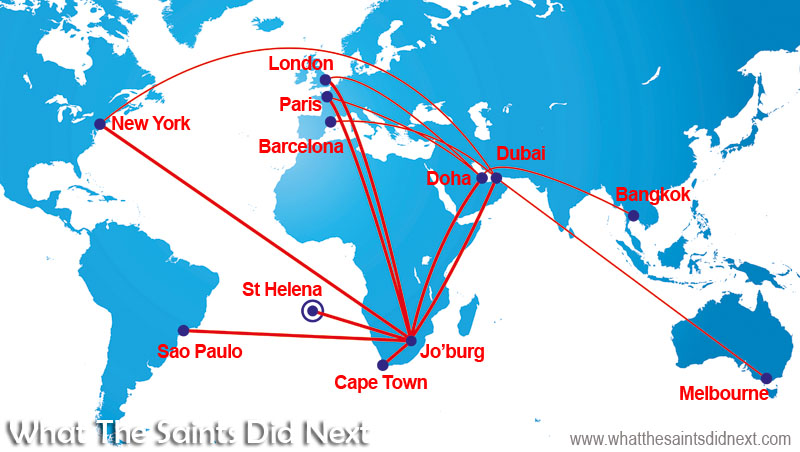 Potential flight paths now becoming available to anyone travelling from St Helena to the world, via Johannesburg, South Africa. Travel times will be slashed from days to hours.