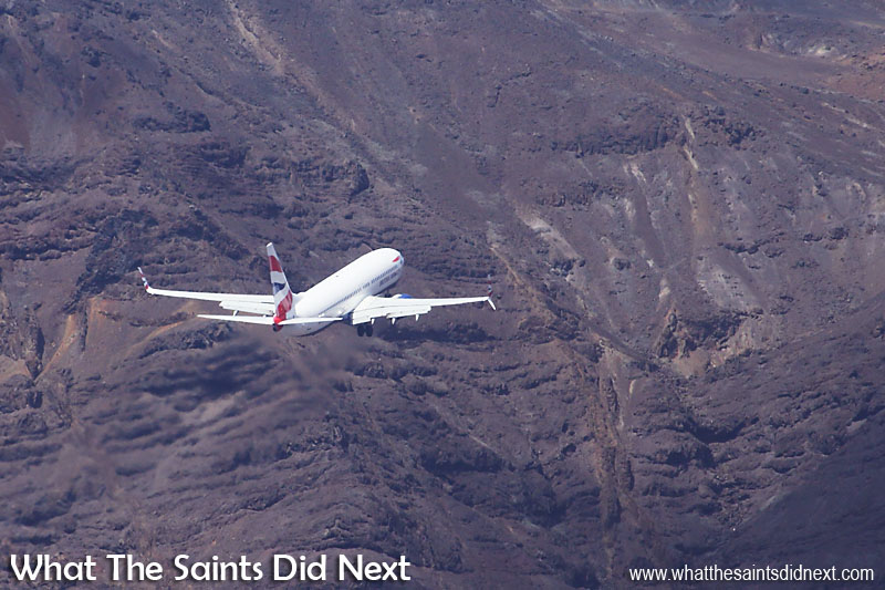 The St Helena Airport landscape is a ruggedly dramatic sight for passengers on flights making the final approach to the runway.