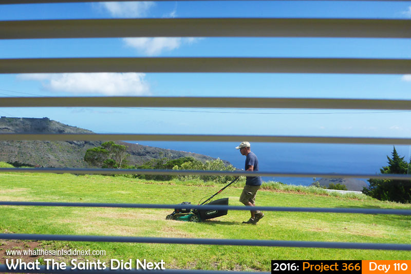 'Circuits & Bumps' 19 April 2016, 11:08 - 1/160, f/10, ISO-100 What The Saints Did Next - 2016 Project 366 Mowing the lawn.