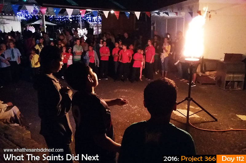 'Sign O The Times' 21 April 2016, 19:21 - 1/17, f/2.4, ISO-1250 - Samsung Galaxy A3 What The Saints Did Next - 2016 Project 366 Queen's 90th birthday beacon burning on St Helena.
