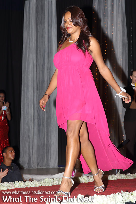 Brianna Yon, contestant no.2, in second round evening wear. Miss St Helena 2016 beauty pageant held at Prince Andrew School.