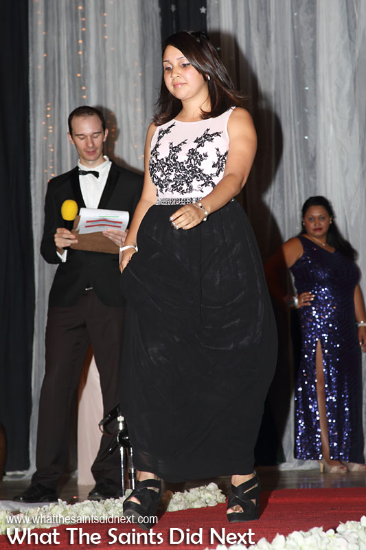 Megan Young, contestant no.7, in second round evening wear. Miss St Helena 2016 beauty pageant held at Prince Andrew School.