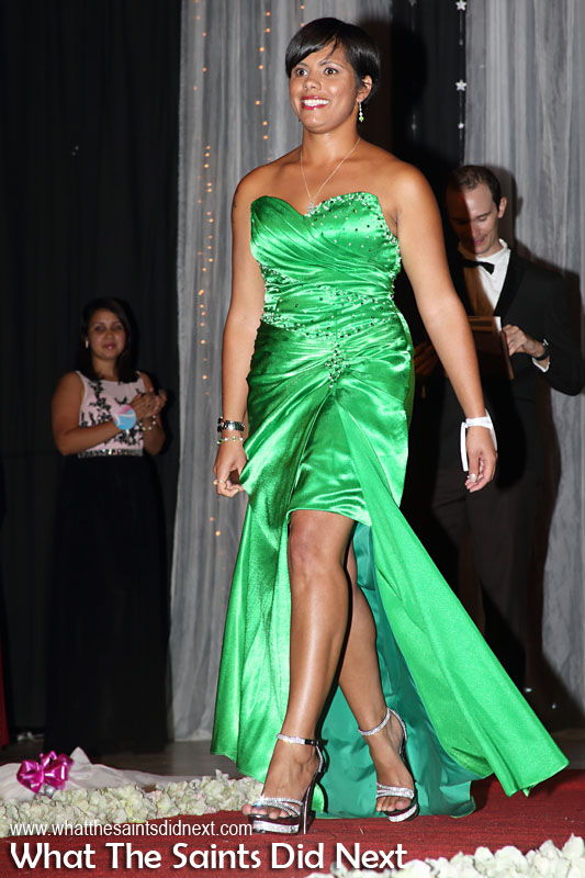 Kimley Yon, contestant no.10, in second round evening wear. Miss St Helena 2016 beauty pageant held at Prince Andrew School.