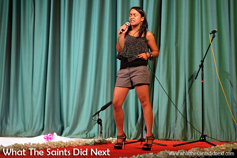 Megan Francis performed two songs at Miss St Helena 2016, part of the interval entertainment.