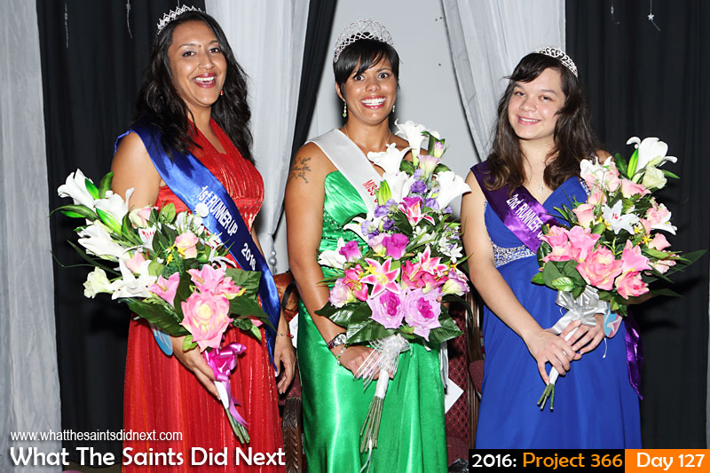 'African Queens' 6 May 2016, 23:08 - 1/60, f/5.6, ISO-400 What The Saints Did Next - 2016 Project 366 Kimley Yon is crowned Miss St Helena 2016, with 1st runner up, Kaylee Young and 2nd runner up, Jodie Scipio-Constantine.