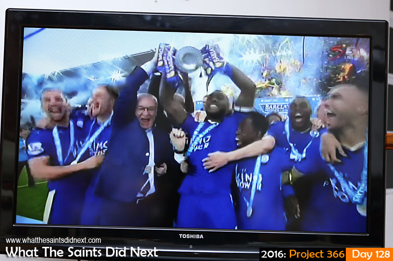'Dilly ding, dilly dong' 7 May 2016, 18:40 - 1/125, f/5, ISO-400 What The Saints Did Next - 2016 Project 366 English football Premiership champions, Leicester City, receive the trophy after beating Everton 3-1 at home.