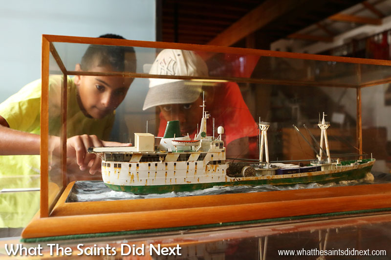 Children visiting the Museum of St Helena are fascinated by a model of the old (pre 1990) RMS St Helena. For more than 500 years sea access has been the exclusive method of travel to and from the island.
