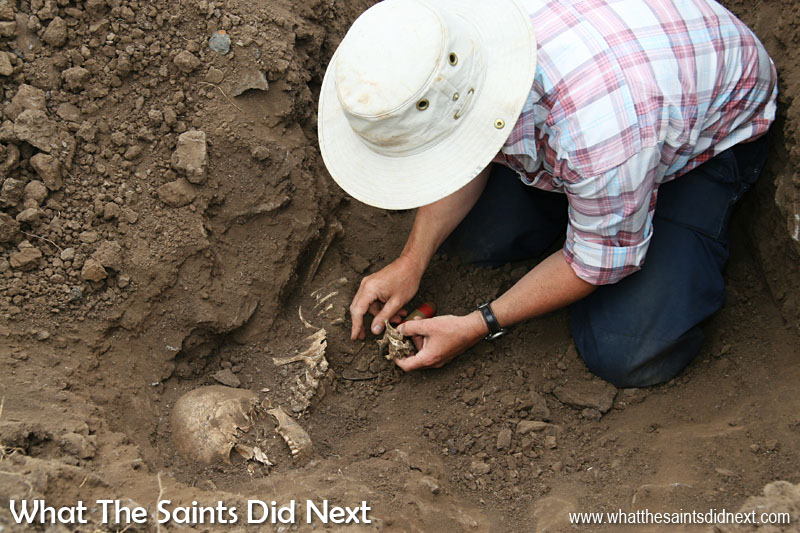 In November, 2006, while testing soil samples in Ruperts Valley as part of the airport haul road planning, the excavator uncovered graves of slaves who had been freed on the island in the mid 19th century. During that time it is estimated as many as 26,000 slaves were brought to St Helena as the Royal Navy worked to suppress the trans-atlantic slave trade. After the discovery a team of archaeologists were brought in to investigate and uncovered some 325 bodies. The Saint identity is a mixture of diff erent ethnicities merged together and slaves are a key part of that mix.