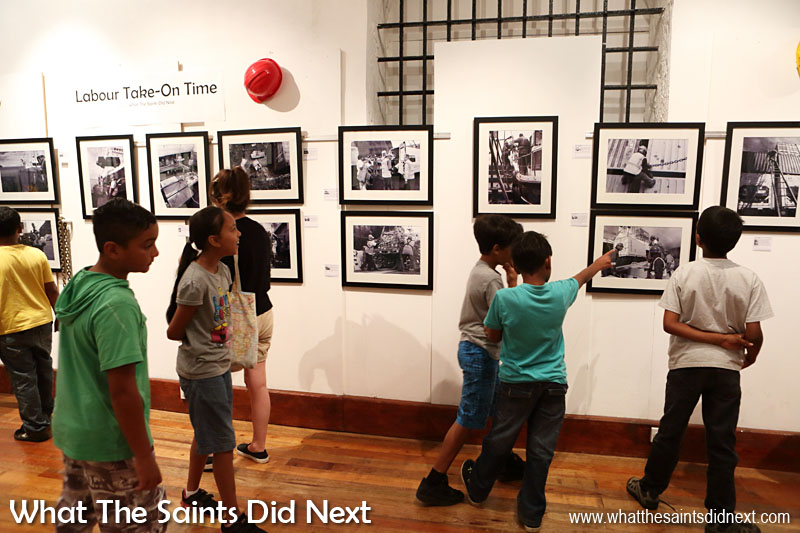 A primary school class enjoying a visit to 'Labour Take-On Time' at the Museum of St Helena. These children will grow up in the new age of air travel for St Helena.