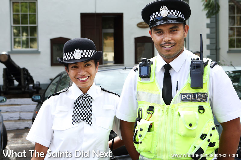 """16 Pictures Celebrating St Helena Day 2016. Saying """"hello"""" to our friendly police constables on the streets of Jamestown."""