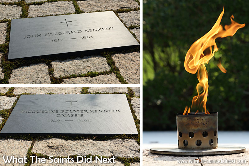 The grave of President John F Kennedy is one of the most visited sites in Arlington Cemetery. At his funeral on 25 November, 1963, Jacqueline and Robert Kennedy lit an eternal flame that remains alight today. Jacqueline and two of Kennedy's children are also buried alongside the president.