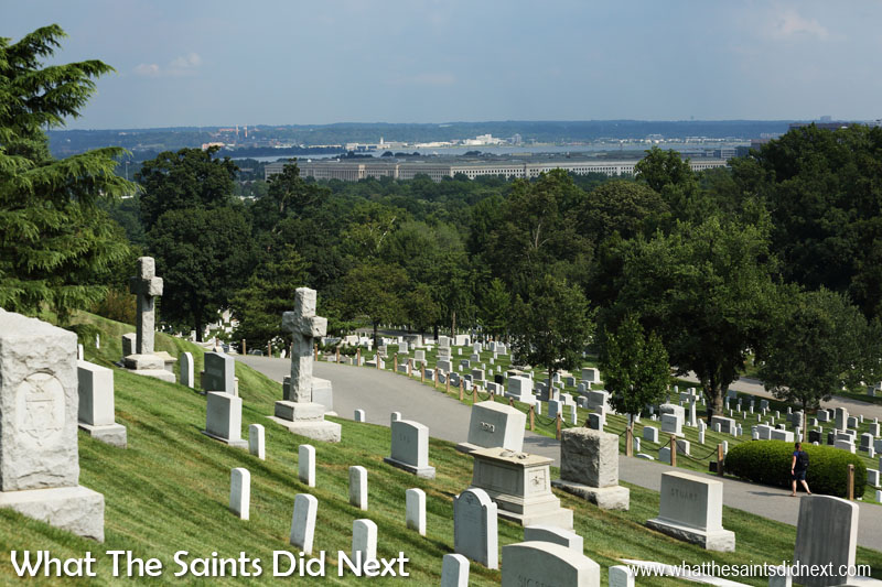 The low lying profile of the Pentagon can be seen from inside Arlington National Cemetery.