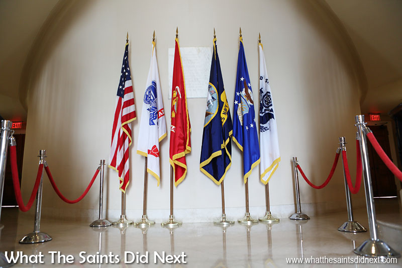 Inside the visitor centre at the Memorial Amphitheatre at Arlington Cemetery.