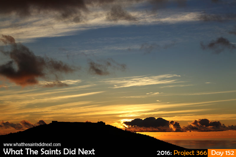 'Coles' 31 May 2016, 17:54 - 1/640, f/8, ISO-200 What The Saints Did Next - 2016 Project 366 A beautiful St Helena Island sunset over High Knoll Fort.