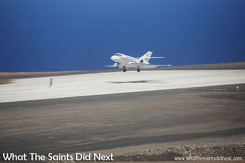 The first air medevac flight arriving at St Helena Airport, a Guardian Air, Dassault Falcon 20.