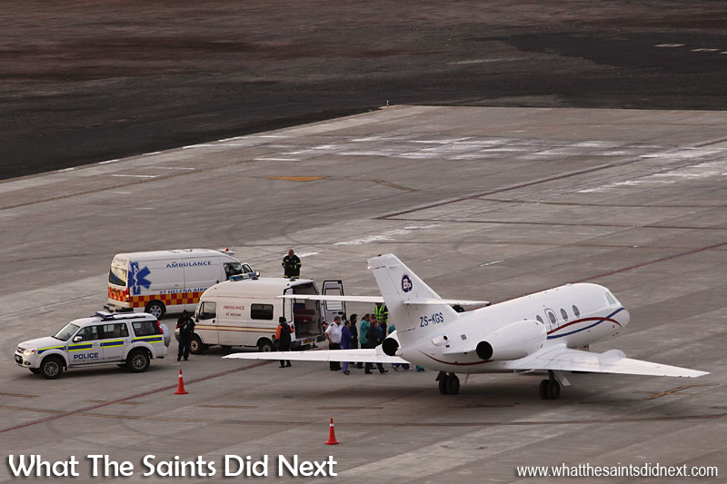 07:15. The emergency teams complete the loading of medevac patients onto the air ambulance.