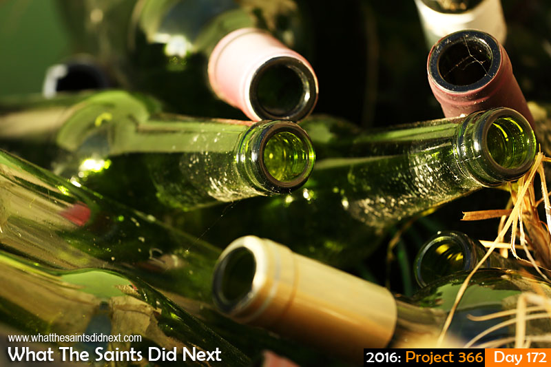 '65m displaced' 20 June 2016, 17:21 - 1/250, f/5.6, ISO-200 What The Saints Did Next - 2016 Project 366 Empty wine bottles.