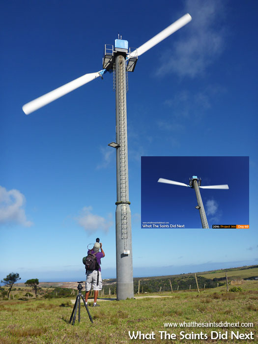 Day 46 of Project 366 - hiking to Flagstaff Post Box the track runs between the St Helena wind farm.
