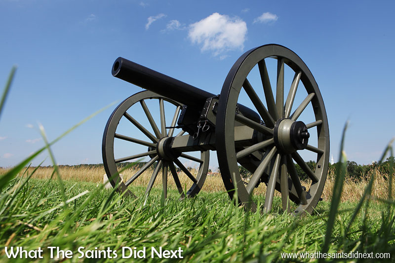 "The popular field artillery gun of the American Civil War, used by both sides, the Model 1857 ""Napoleon"" which fired a 12 pound cannon ball a few thousand yards. The weapon was reliable, highly mobile and devastatingly effective at all ranges. Display guns are on show all around the Gettysburg National Military Park."