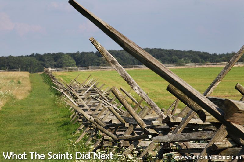 Split rail fences line the Gettysburg Battlefield at every stop. These fences were quick to construct as they required few tools and could even be erected without nails. During the American Civil War these were often used for firewood by both Union and Confederate soldiers.